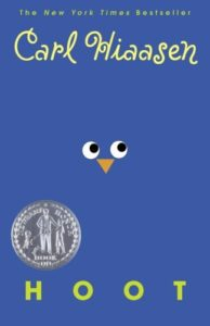 The cover of Hoot by Carl Hiaasen